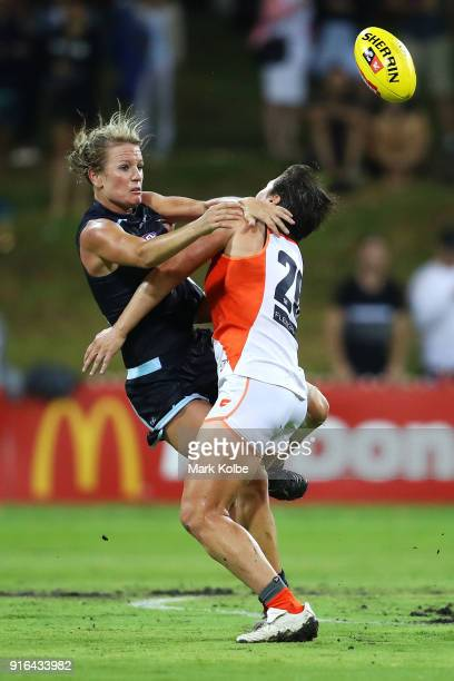 Katie Loynes of the Blues is tackled by Courtney Gum of the Giants during the round 20 AFLW match between the Greater Western Sydney Giants and the...