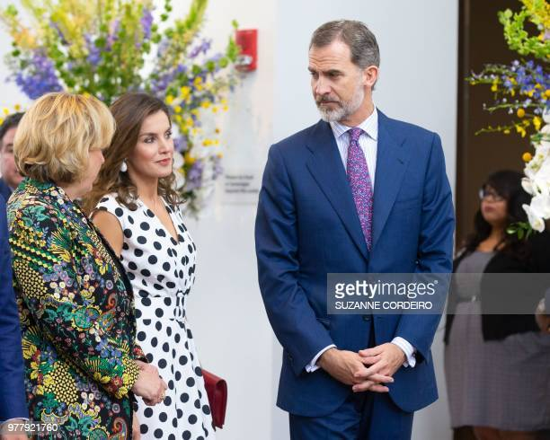 Katie Luber Director of the San Antonio Museum of Art greets King Felipe VI and Queen Letizia of Spain at the San Antonio Museum of Antonio to attend...