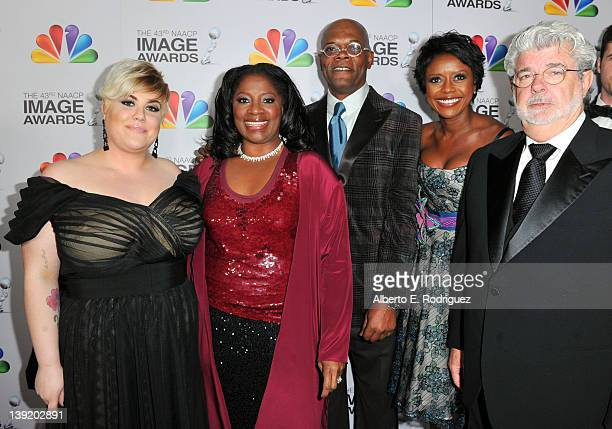 Katie Lucas , LaTanya Richardson, Actor Samuel L. Jackson, Mellody Hobson, and Producer/Director George Lucas arrive at the 43rd NAACP Image Awards...