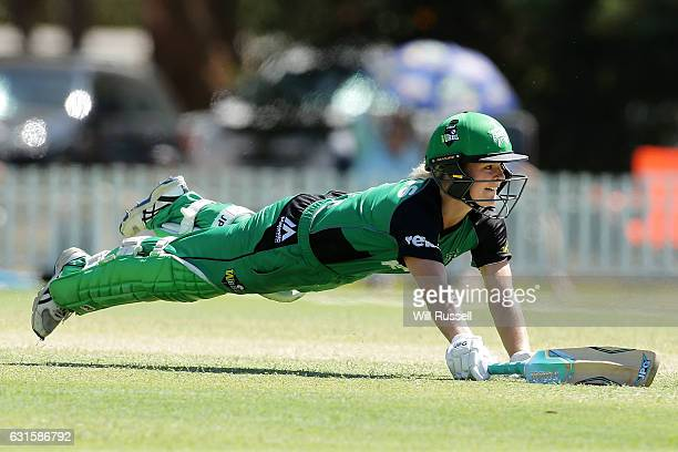 Katie Mack of the Stars dives for the crease during the Women's Big Bash League match between the Adelaide Strikers and the Melbourne Stars at Lilac...