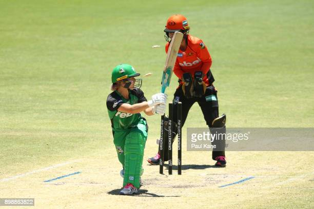 Katie Mack of the Stars is bowled by Natalie Sciver of the Scorchers during the Women's Big Bash League match between the Melbourne Stars and the...