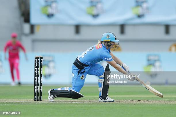 Katie Mack of the Strikers bats during the Women's Big Bash League WBBL match between the Sydney Sixers and the Adelaide Strikers at North Sydney...