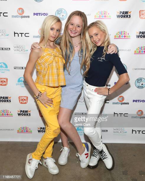 Katie, MacKenzie and Kameron Couch attend DJ Lela B Birthday And LipSynk Cosmetics Launch At PetPOP at PetPOP on July 31, 2019 in Los Angeles,...