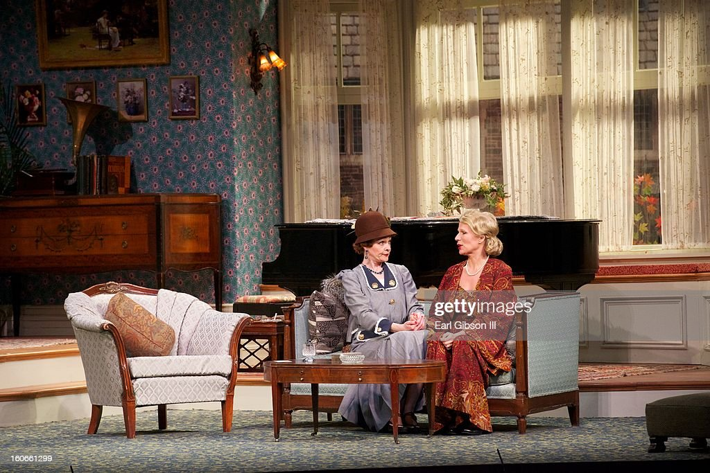 Katie Macnichol and Pamela J. Gray perform in Noel Coward's play Fallen Angels at Pasadena Playhouse on February 3, 2013 in Pasadena, California.