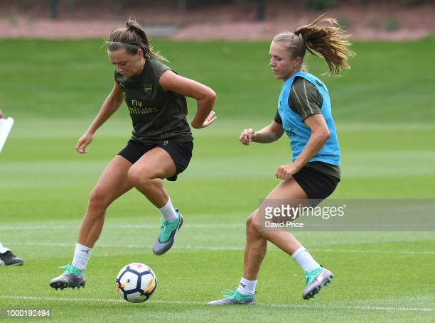 Katie McCabe and Lia Walti of Arsenal Women during the Arsenal Womens Training Session at London Colney on July 16 2018 in St Albans England