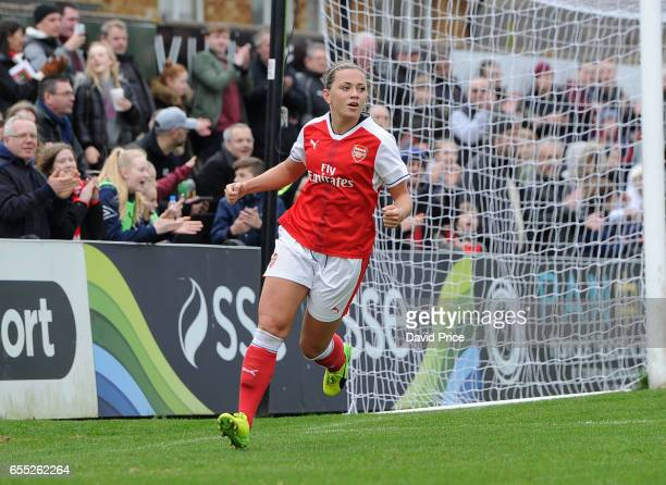 Katie McCabe celebrates scoring a goal for Arsenal during the match between Arsenal Ladies and Tottenham Hotspur Ladies on March 19 2017 in...