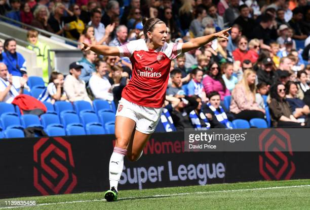 Katie McCabe celebrates scoring Arsenal's 2nd goal during the FA WSL match between Brighton Hove Albion Women and Arsenal Women at Amex Stadium on...