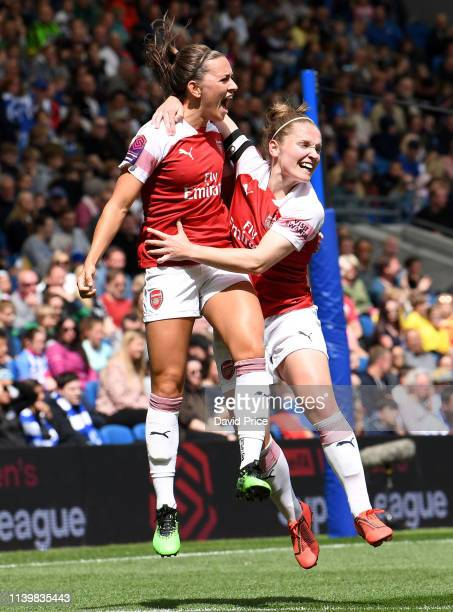 Katie McCabe celebrates scoring Arsenal's 2nd goal with Kim Little during the FA WSL match between Brighton & Hove Albion Women and Arsenal Women at...
