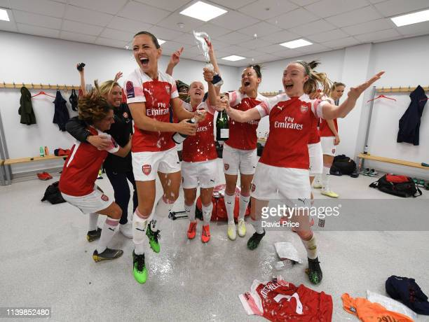 Katie McCabe Louise Quinn and Katrine Veje of Arsenal celebrate after the match between Brighton Hove Albion Women and Arsenal Women at Amex Stadium...