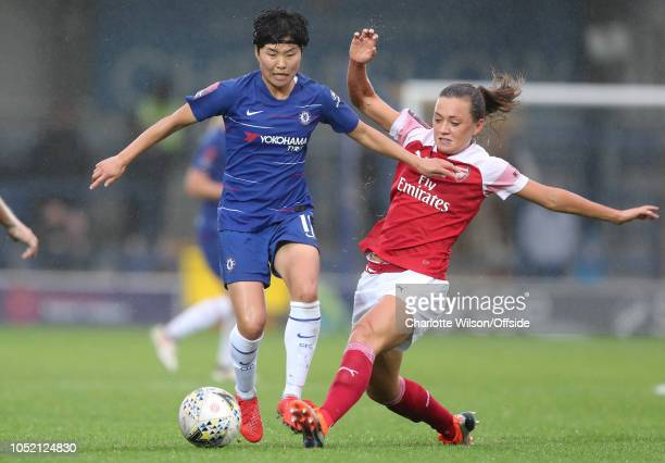 Katie McCabe of Arsenal could Ji SoYun of Chelsea during the Women's Super League match between Chelsea FC Women and Arsenal Women at Kingsmeadow on...
