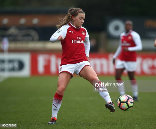 Katie McCabe of Arsenal during The FA Women's Cup Fifth Round match between Arsenal against Millwall Lionesses at Meadow Park Borehamwood FC on 18...