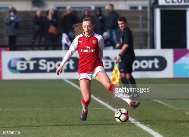 Katie McCabe of Arsenal during Women's Super League 1match between Arsenal against Yeovil Town Ladies at Meadow Park Boreham wood FC on 10 Feb 2018
