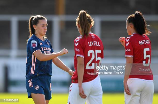 Katie McCabe of Arsenal interacts with Naomi Layzell and Laura Rafferty of Bristol City at full-time after the Barclays FA Women's Super League match...