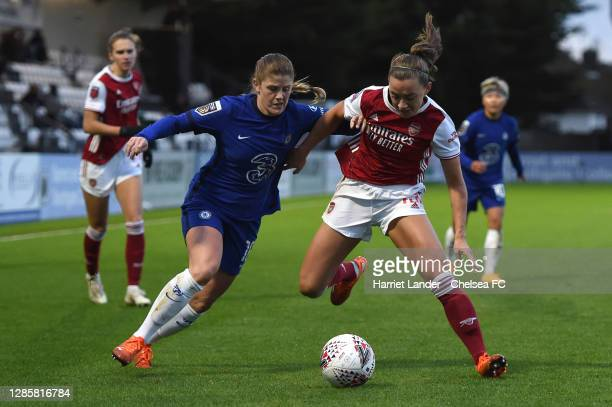 Katie McCabe of Arsenal is challenged by Maren Mjelde of Chelsea during the Barclays FA Women's Super League match between Arsenal Women and Chelsea...