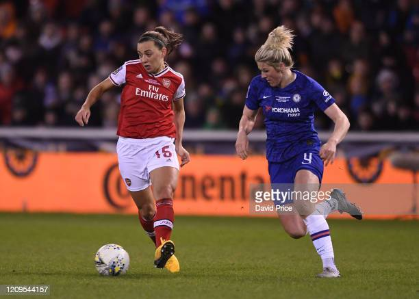 Katie McCabe of Arsenal takes on Millie Bright of Chelsea during the FA Women's Continental League Cup Final Chelsea FC Women and Arsenal FC Women at...