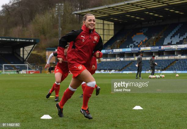 Katie McCabe of Arsenal Women warms up before the match between Reading FC Women and Arsenal Women at Adams Park on January 28 2018 in High Wycombe...