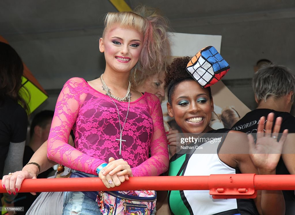 Katie McGlynn and Krissi Bohn attend Manchester Pride on August 24, 2013 in Manchester, England.