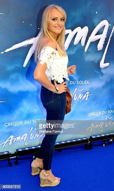 Katie McGlynn arrives at the press night for Cirque Du Soleil's 'Amaluna' at The Big Top Intu Trafford Centre on September 7 2016 in Manchester...