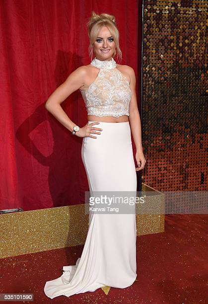 Katie McGlynn arrives for the British Soap Awards 2016 at the Hackney Town Hall Assembly Rooms on May 28 2016 in London England