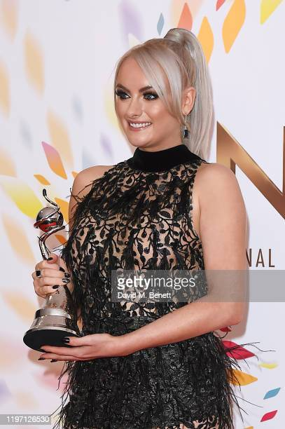 Katie McGlynn poses in the winners room at the National Television Awards 2020 at The O2 Arena on January 28 2020 in London England