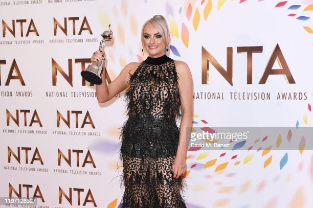 Katie McGlynn winner of the Drama Performance award for Coronation Street poses in the winners room at the National Television Awards 2020 at The O2...