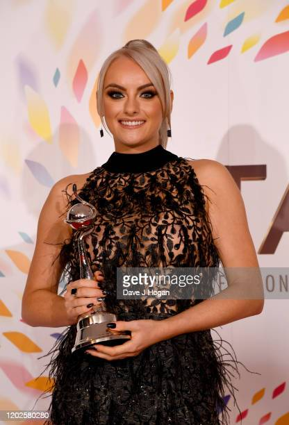 Katie McGlynn wins the Serial Drama Award at the National Television Awards 2020 at The O2 Arena on January 28 2020 in London England
