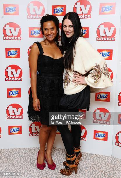 Katie McGrath and Angel Coulby arriving for the 2010 TV Choice awards at the Dorchester Hotel London