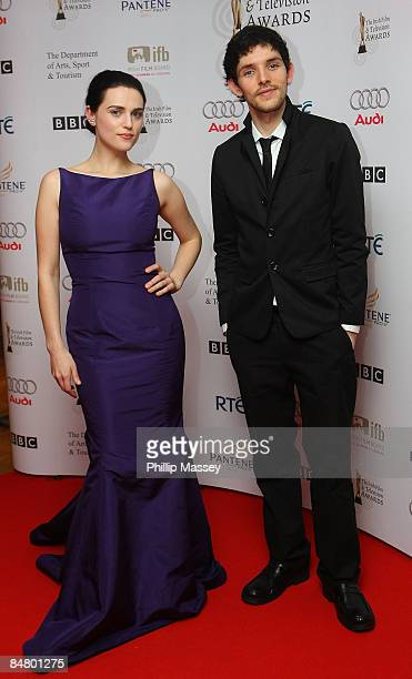 Katie McGrath and Colin Morgan appear in the press room for the Irish Film & TV Awards at the Burlington Hotel on February 14, 2009 in Dublin,...
