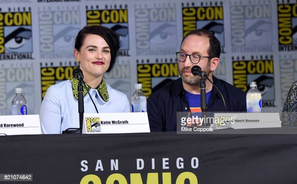 KAtie McGrath and Robert L Rovner attend the 'Supergirl' special video presentation during ComicCon International 2017 at San Diego Convention Center...