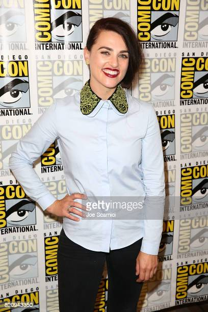 Katie McGrath arrives at the 'Supergirl' press line at ComicCon International 2017 on July 22 2017 in San Diego California