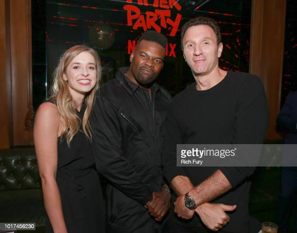 Katie McNeil Amin Joseph and Ian Edelman attend the after party for the screening of Netflix's 'The After Party' on August 15 2018 in Hollywood...