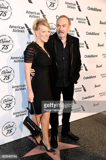 Katie McNeil and recording artist Neil Diamond attend Capitol Records 75th Anniversary Gala at Capitol Records Tower on November 15 2016 in Los...