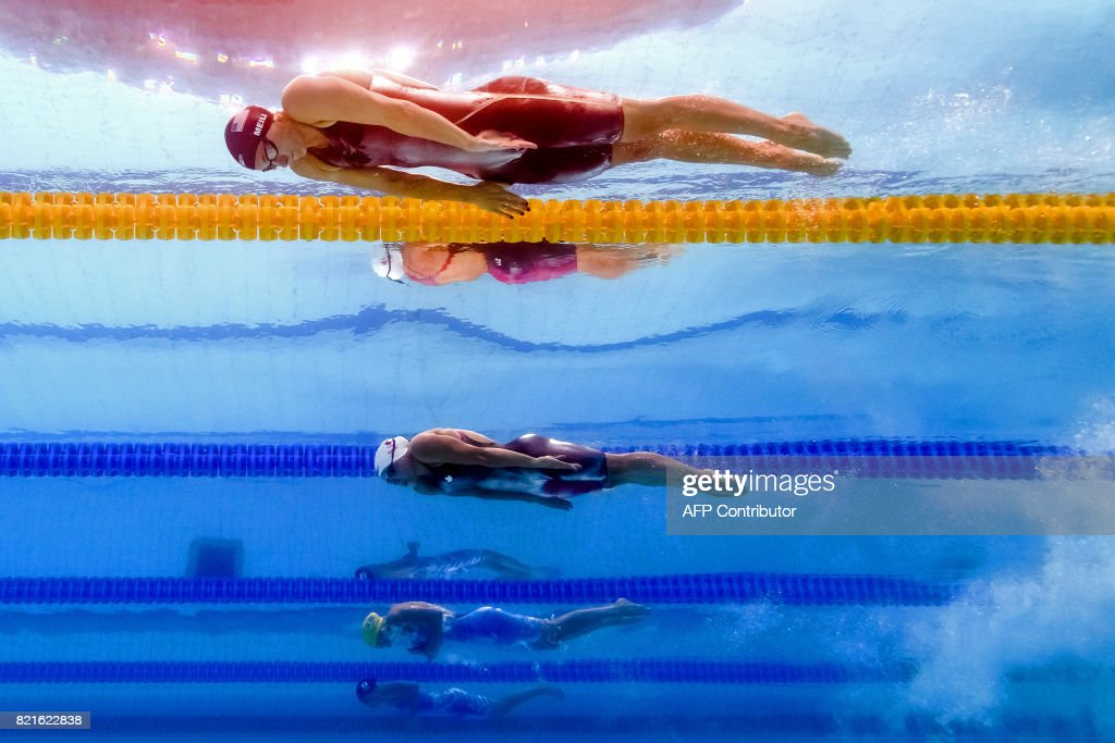 Katie Meili competes in a women's 100m breaststroke semi-final during the swimming competition at the 2017 FINA World Championships in Budapest, on July 24, 2017. / AFP PHOTO / François-Xavier MARIT