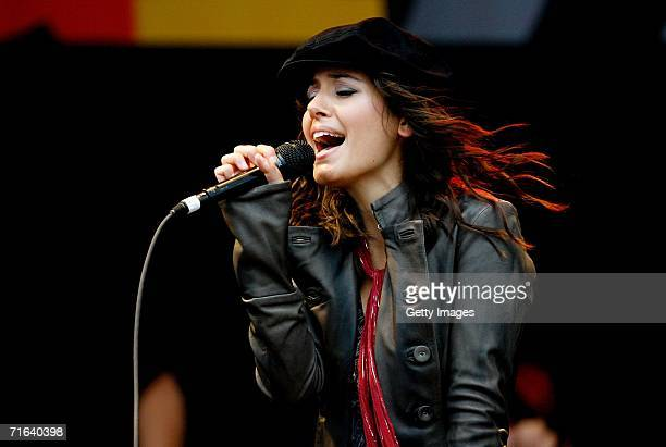 Katie Melua performs at the GP Masters of Great Britain at Silverstone circuit on August 13 in Silverstone England