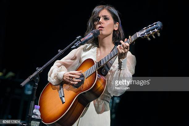 Katie Melua performs with the Gori Women's Choir at the Theatre Royal on November 27 2016 in London England