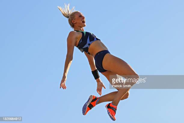 Katie Nageotte celebrates as she competes in the Women's Pole Vault Final on day nine of the 2020 U.S. Olympic Track & Field Team Trials at Hayward...