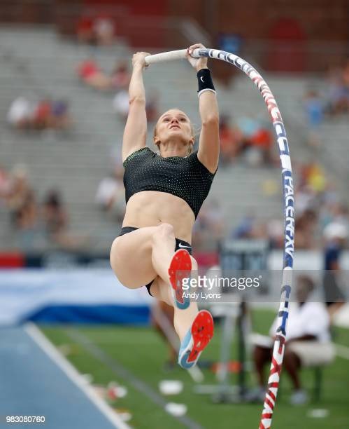Katie Nageotte competes in the Mens Pole Vault during day 4 of the 2018 USATF Outdoor Championships at Drake Stadium on June 24 2018 in Des Moines...