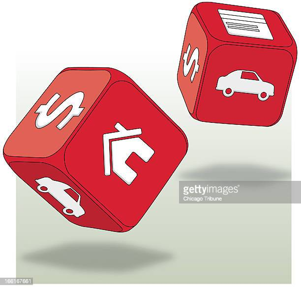 Katie Nieland illustration of dice with dollar signs houses cars on them can be used with stories about financial gambles that banks take
