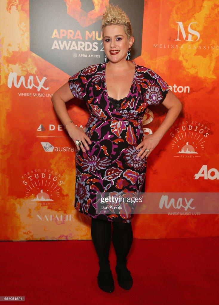 Katie Noonan arrives ahead of the 2017 APRA Music Awards on April 3, 2017 in Sydney, Australia.
