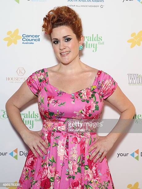 Katie Noonan arrives at The Emeralds and Ivy Ball at Sydney Town Hall on October 10 2014 in Sydney Australia