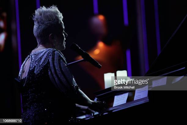 Katie Noonan performs during the In Memorium segment during the 2018 AACTA Awards Presented by Foxtel at The Star on December 5 2018 in Sydney...