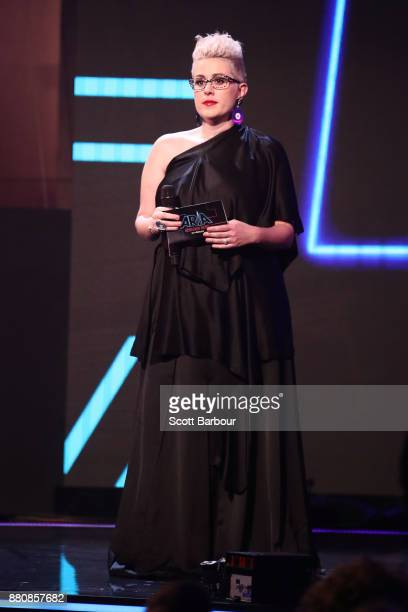 Katie Noonan presents on stage during the 31st Annual ARIA Awards 2017 at The Star on November 28 2017 in Sydney Australia