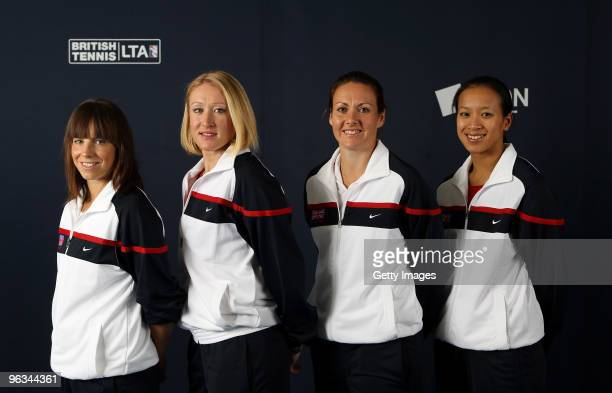 Katie O'Brien, Elena Baltacha, Sarah Borwell and Anne Keothavong of Great Britain pose during the AEGON GB Fed Cup Team Photocall at the LTA on...