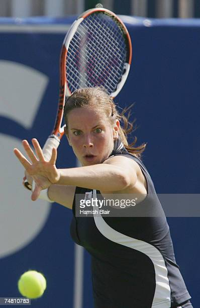 Katie O'Brien of Great Britain plays a forehand in her match against Elena Dementieva of Russia during the International Women's Open Tennis...