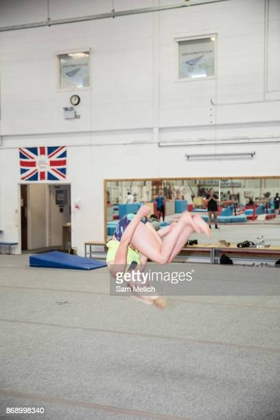 Katie Ormerod at the Leeds Gymnastic Club on 21st July 2017 in Leeds United Kingdom Leeds Gymnastic Club is one of the training facilities for the GB...