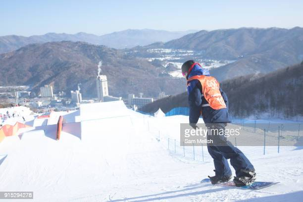 Katie Ormerod from Great Britain during the snowboard slopestyle practice on the 7th February 2018 at Phoenix Snow Park for the Pyeongchang 2018...