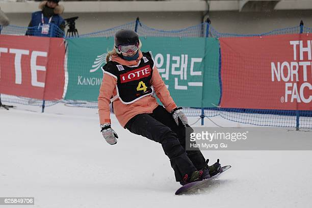 Katie Ormerod of Great Britain competes in Ladies BA Finals the FIS Snowboard World Cup 2016/17 at Alpensia Ski Jumping Center on November 26 2016 in...