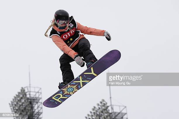 Katie Ormerod of Great Britain competes in Ladies Semifinals R2 during the FIS Snowboard World Cup 2016/17 at Alpensia Ski Jumping Center on November...