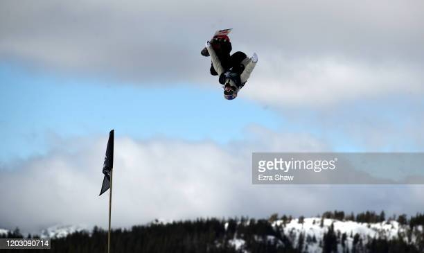 Katie Ormerod of Great Britain goes over a jump during the Women's Snowboard Slope Style Qualifications at the 2020 US Grand Prix at Mammoth Mountain...