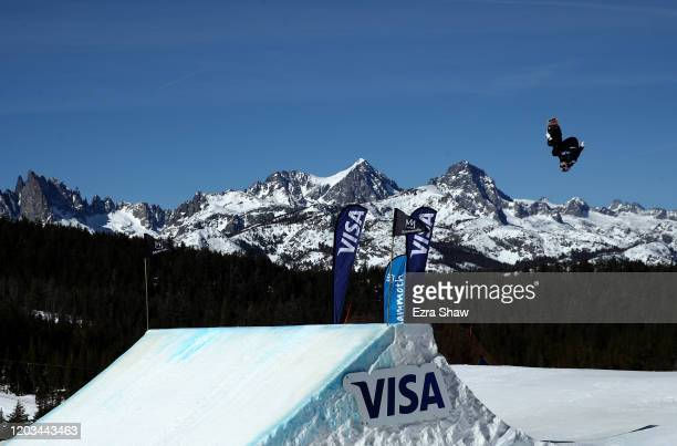 Katie Ormerod of Great Britain goes over a jump during the Women's Snowboard Slopestyle Finals at the 2020 US Grand Prix at Mammoth Mountain on...